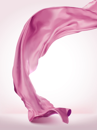 Illustration pour Pink wavy satin on light pink background in 3d illustration - image libre de droit