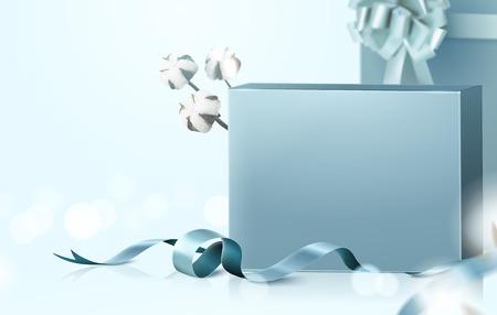 Ilustración de Blank gift boxes set with graceful ribbon and cotton elements on selective focus background, 3d illustration - Imagen libre de derechos