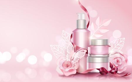 Ilustración de Blank skincare sets with paper art flowers and butterflies elements, copy space light pink 3d illustration - Imagen libre de derechos