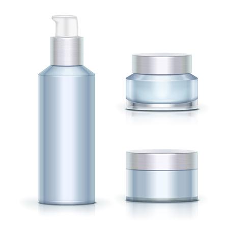 Illustration pour Blank blue skincare containers set on white background in 3d illustration - image libre de droit