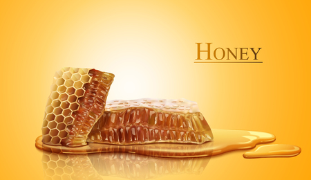 Ilustración de Honeycomb and sweet pure honey in 3d illustration - Imagen libre de derechos