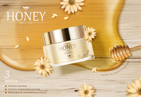 Illustration pour Honey cream jar ads with golden color syrup and dipper on wooden table in 3d illustration, flat lay - image libre de droit