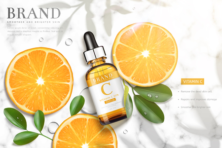 Ilustración de Vitamin C essence ads with sliced orange and droplet bottle laying on marble stone table, 3d illustration top view - Imagen libre de derechos