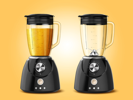 Ilustración de Set of juicer blender appliances in 3d illustration, one full of juice and the other one is empty - Imagen libre de derechos