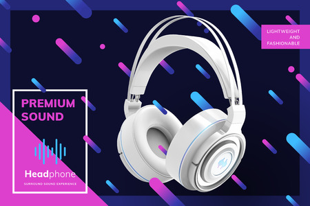 Illustration for Premium white headphone ads on trendy geometric line background in 3d illustration - Royalty Free Image