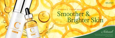 Illustration pour Vitamin C essence banner ads with translucent sliced orange and droplet bottle, 3d illustration - image libre de droit