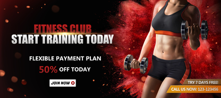 Ilustración de Fitness club banner ads with a healthy woman lifting weights on red exploding powder effect background, 3d illustration - Imagen libre de derechos