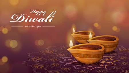 Ilustración de Diwali festival design with diya and rangoli, which means oil lamp and floor decorations on bokeh background - Imagen libre de derechos