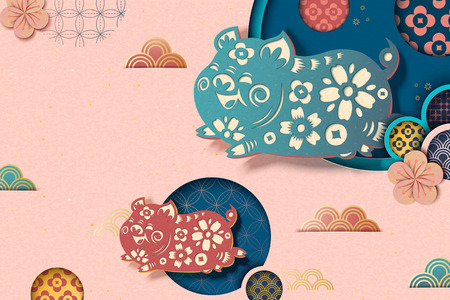 Ilustración de Happy Chinese new year style pink background with flying piggy and floral pattern in paper art style - Imagen libre de derechos