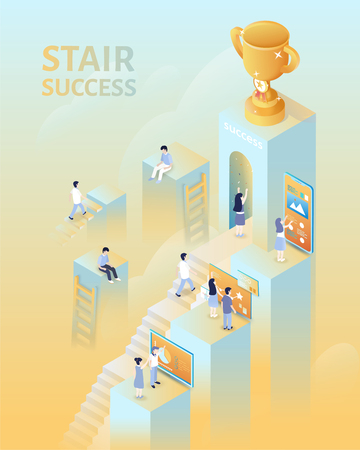Ilustración de Success concept in 3d isometric projection, people climbing up the stairs for the trophy - Imagen libre de derechos