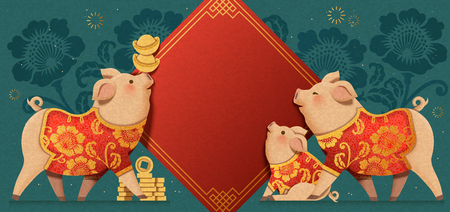 Ilustración de Lovely paper art piggy which are wearing traditional clothes with spring couplets background, Chinese new year banner - Imagen libre de derechos