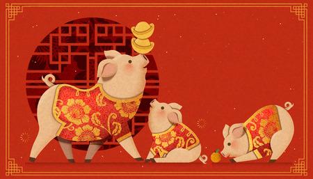 Illustration pour Lovely paper art piggy family on Chinese window background - image libre de droit