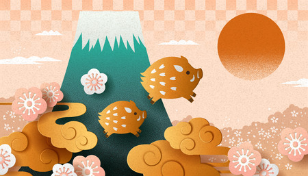 Illustration pour Japanese new year with paper art style boar and fuji mountain - image libre de droit