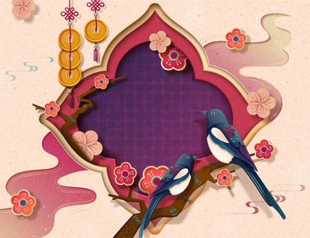 Illustration for Chinese new year template with pica pica and plum flowers in paper art style, copy space for greeting words - Royalty Free Image