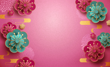 Illustration for Fuchsia and turquoise paper plum flower wallpaper - Royalty Free Image