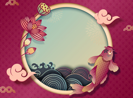 Ilustración de Chinese new year with koi carp and lotus decorations, paper art style background with wave tides - Imagen libre de derechos