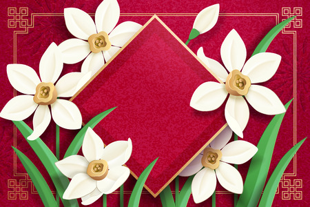 Illustration for Blank spring couplet with paper art narcissus on red background - Royalty Free Image