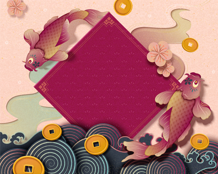 Ilustración de Chinese new year with koi carp and spring couplet decorations, paper art style background with golden coins and wave tides - Imagen libre de derechos