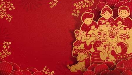 Illustration for Heartwarming reunion dinner during lunar new year in paper art, red and golden color tone - Royalty Free Image
