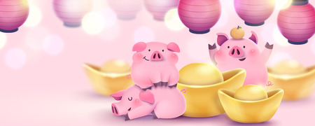 Illustration for Lovely hand drawn pink piggy banner with gold ingots and lanterns - Royalty Free Image