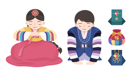 Illustration for Korean new year custom hanbok and fortune bags design on white background, people doing new year's bow - Royalty Free Image