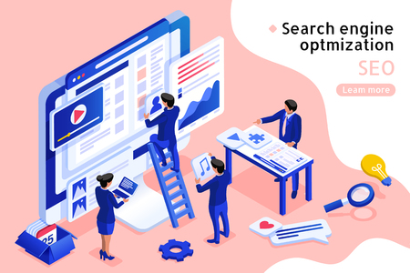Ilustración de 3d isometric projection SEO concept illustration in blue and pink - Imagen libre de derechos