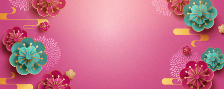 Illustration for Paper art flower banner design with fuchsia color background - Royalty Free Image