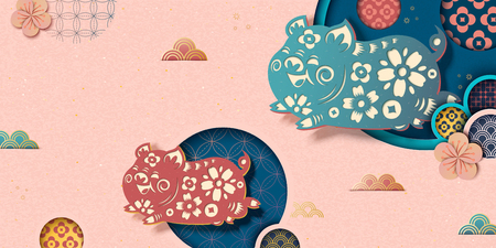 Illustration for Happy Chinese new year banner in pink with flying piggy and floral pattern in paper art style - Royalty Free Image