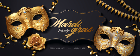 Ilustración de Mardi gras banner with golden luxurious mask and streamers in 3d illustration, top view angle - Imagen libre de derechos