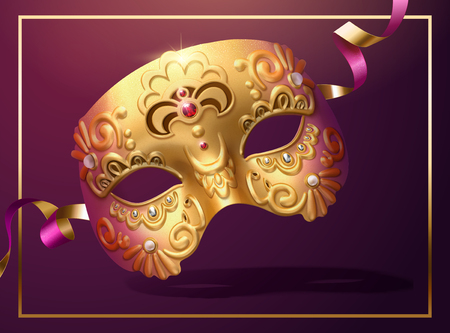 Illustration for Golden luxurious mask with streamer in 3d illustration - Royalty Free Image