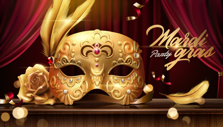 Illustration pour Mardi gras banner with golden luxurious mask in 3d illustration on stage background, bokeh effect - image libre de droit