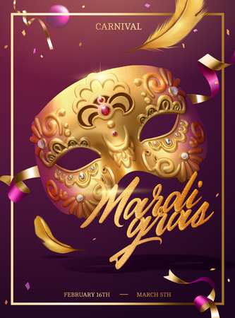 Illustration for Mardi gras poster with golden luxurious mask and confetti in 3d illustration - Royalty Free Image