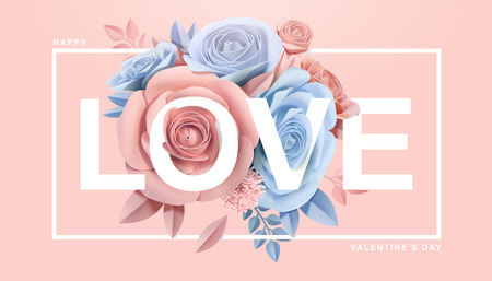 Illustration for Happy Valentine's Day with paper blossoms in 3d illustration - Royalty Free Image