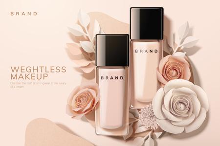 Ilustración de Foundation in glass bottle with paper flowers, 3d illustration - Imagen libre de derechos