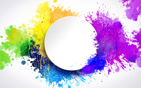 Ilustración de Colorful paint drops and blank round plate background - Imagen libre de derechos