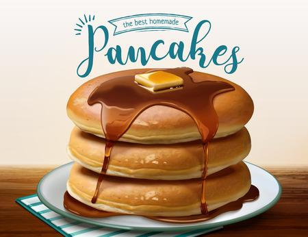 Ilustración de Souffle pancake with dripping honey in 3d illustration - Imagen libre de derechos
