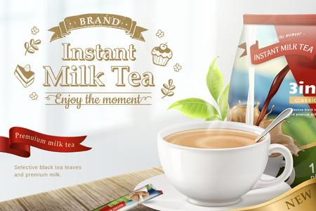 Ilustración de Instant milk tea on wooden table background in 3d illustration - Imagen libre de derechos