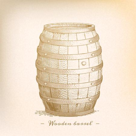 Ilustración de Retro wooden barrel in engraving style, beige tone - Imagen libre de derechos