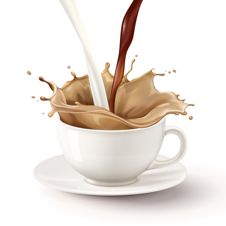 Ilustración de Milk tea pouring down into white mug, 3d illustration - Imagen libre de derechos