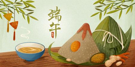 Ilustración de Giant rice dumplings on wooden table banner, Dragon boat festival written in Chinese characters word - Imagen libre de derechos
