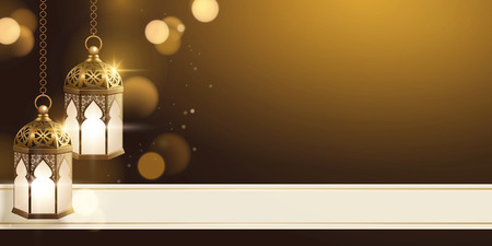 Illustration pour Golden fanoos with copy space and shimmering effect banner - image libre de droit