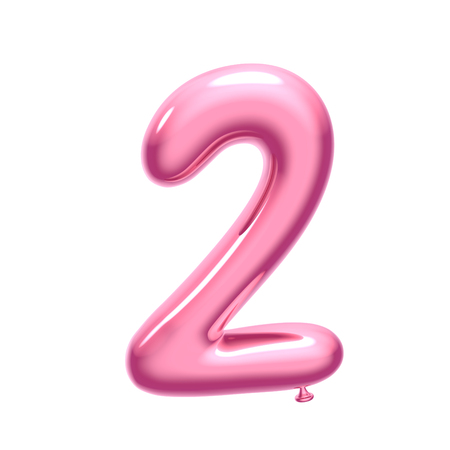 Foto de 3D render pink balloon number 2 on white background - Imagen libre de derechos