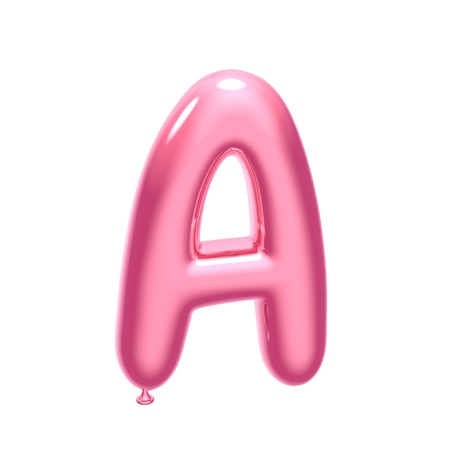 Photo pour 3D render pink balloon alphabet A isolated on white background - image libre de droit