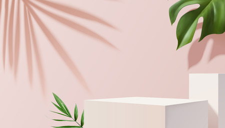 Ilustración de White square stage with tropical plants on pink background in 3d illustration - Imagen libre de derechos