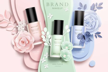 Ilustración de Colorful nail lacquer ads with paper flowers and liquid background in 3d illustration - Imagen libre de derechos