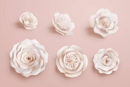 Illustration pour Paper camellia flowers collection in 3d illustration - image libre de droit