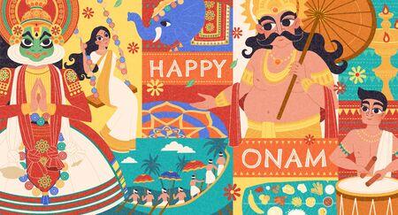 Ilustración de Happy Onam flat design with Mahabali and Kathakali dancer characters - Imagen libre de derechos