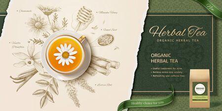 Ilustración de 3d illustration herbal tea in top view perspective, engraving style herbs ingredients background - Imagen libre de derechos