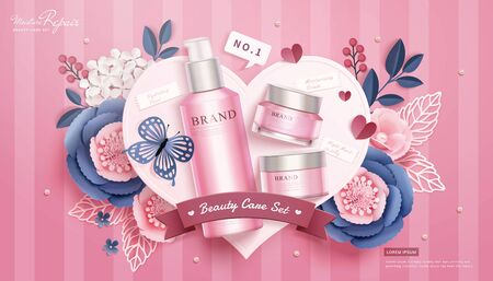 Illustration pour 3d illustration pink cosmetic skincare set lying on paper heart with flowers and butterfly, flat lay stripe background - image libre de droit