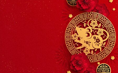 Illustration pour Year of the mouse with paper art mice and flower decoration on red background, copy space for lettering design - image libre de droit